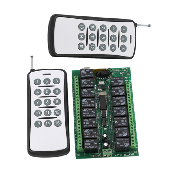315/433MHZ DC 24V 15CH Wireless RF Remote Control Switch 2 Transmitter+ Receiver ON/OFF Module Free Shipping 315 433mhz 12v 2ch remote control light on off switch 3transmitter 1receiver momentary toggle latched with relay indicator