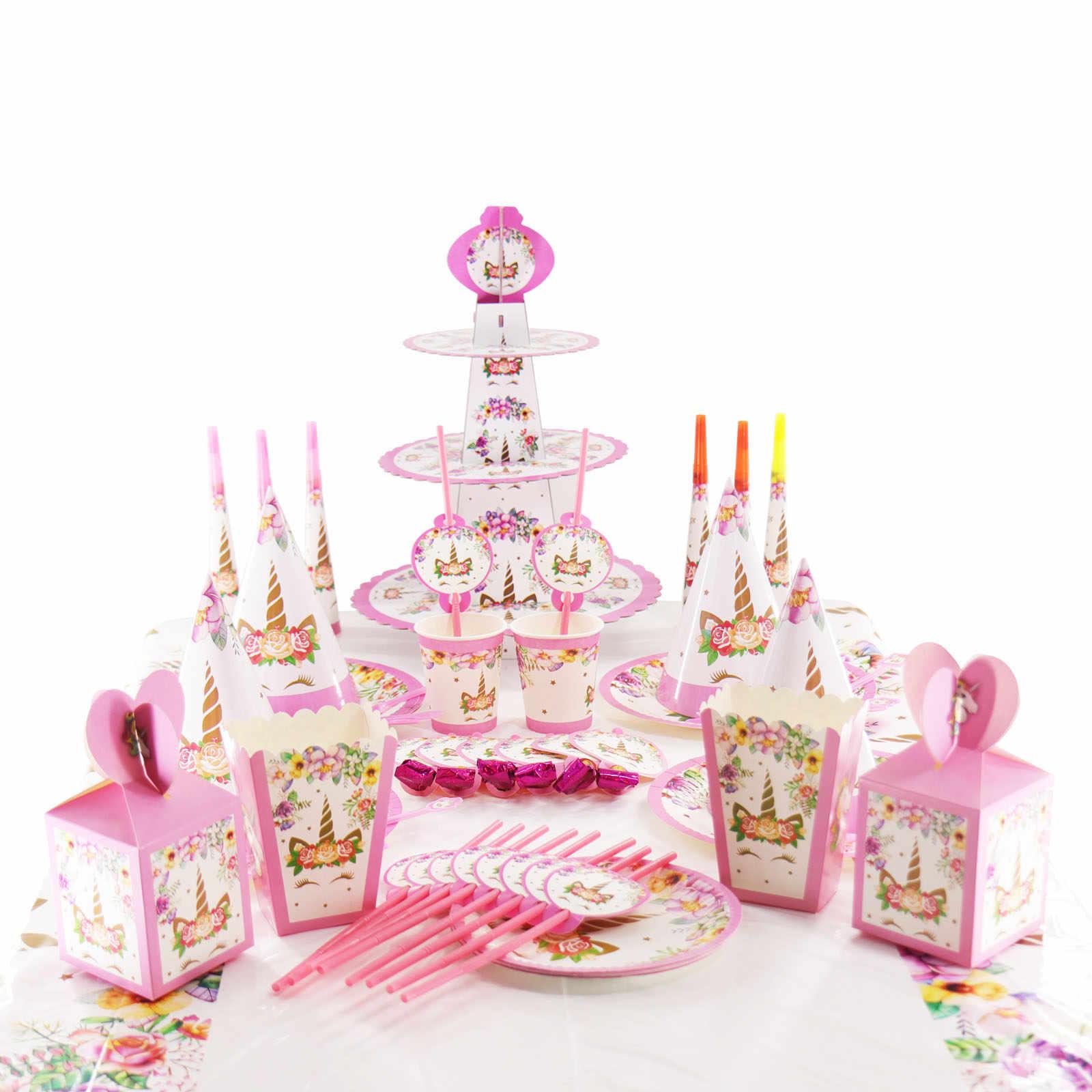 يونيكورن أدوات المائدة Grosgrain الشريط بريق كب كيك توبر بالون ملصق صور كليب للطفل استحمام الزفاف ديكور حفلات