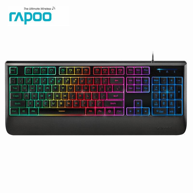 Original Rapoo V56 Colorful Backlight Computer Gaming Keyboard Teclado USB Powered for PC Desktop Laptop Office Keyboard