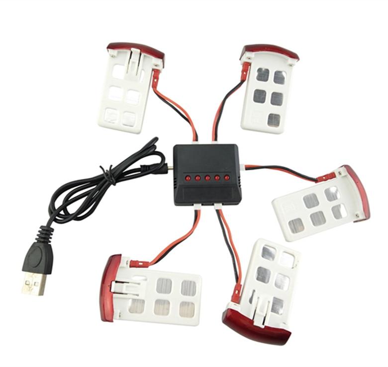 BLL Syma X5UC / X5UW RC Quadcopter Ehtiyat hissələri 3.7V 500mAh Batareya * 5PCS + USB Adapter + Transfer Kabel * 5PCS