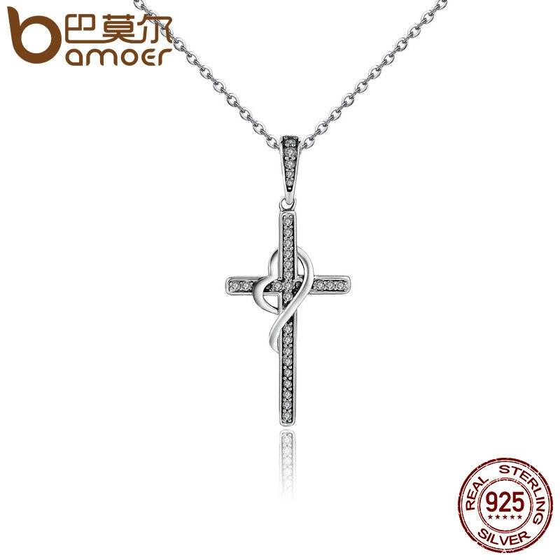 5d92cc645fa3 BAMOER nueva llegada 925 plata esterlina fe en el corazón de cristal de  Cruz de mujeres colgante collares de plata auténtica de regalo de la joyería  de ...