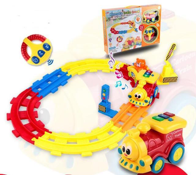 Звук Р/У поезда светящиеся Игрушечные лошадки хобби Электрический Дистанционное управление трек маленький поезд модель мультфильм детская игрушка для Обувь для мальчиков Обувь для девочек