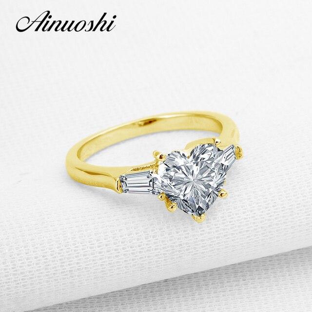a9f3d13fd081 AINUOSHI 10 K sólido amarillo oro boda anillos corte corazón Sona diamante  simulado San Valentín joyería
