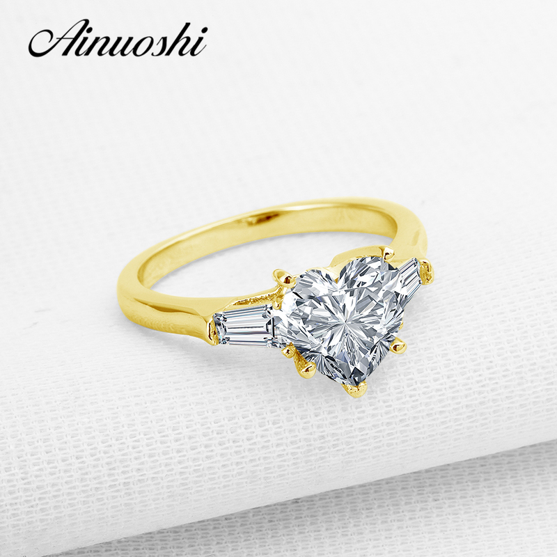 AINUOSHI 10k Solid Yellow Gold Wedding Rings Heart Cut Sona Simulated Diamond Valentines Jewelry Engagement Band Ring for WomenAINUOSHI 10k Solid Yellow Gold Wedding Rings Heart Cut Sona Simulated Diamond Valentines Jewelry Engagement Band Ring for Women