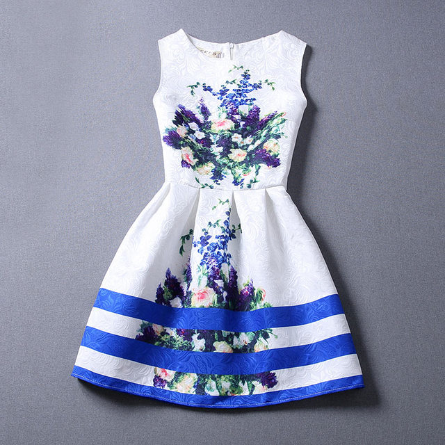 girl dress summer sleeveless sundress flower jacquard floral printing europe style teenager girl clothes kids dress children