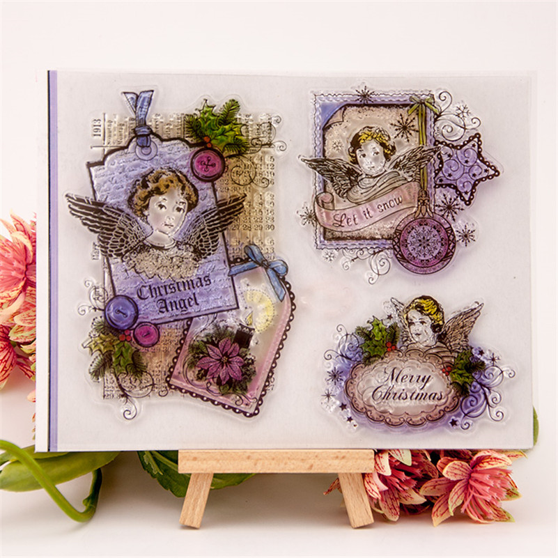 angel beauty girl Scrapbook DIY photo Album paper cards clear stamp transparent stamp for christmas gift RZ-182 lovely animals and ballon design transparent clear silicone stamp for diy scrapbooking photo album clear stamp cl 278