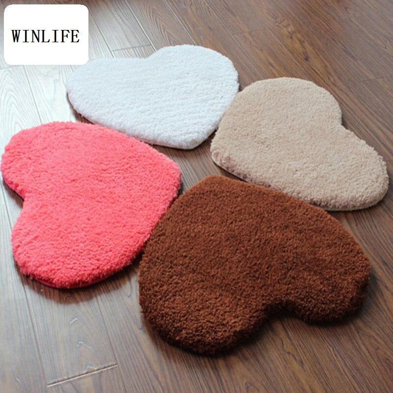 WINLIFE Lovely Sweet Heart Shaped Mat Shaggy Long Hair Rug For Bedroom/Bathroom/Hotel Anti Skid Mat Bedside Rug Decoratimg Mat