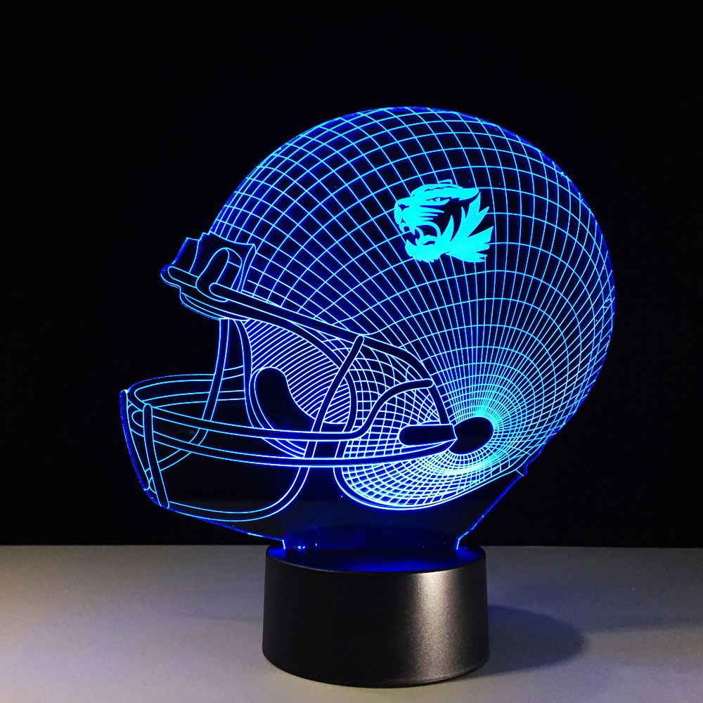 Led 3D Football Helmet Lamp Changeable Mood NightLight Colorful Visual Lighting Luminaria Rugby Cap Table Lamp Xmas Gifts Decor