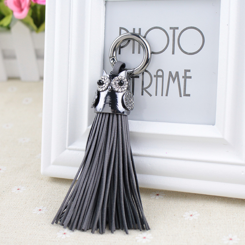 Alloy Plating Car Key Chain Ring Holder Jewelry Handmade Leather Tassels Women Keychain Bag Pendant Gorgeous
