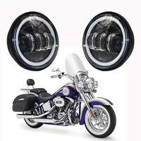 4 1/2 4.5 Inch for harley davidson LED Fog Light Passing Auxiliary Lamps White Halo Ring For Harley Touring, Road king