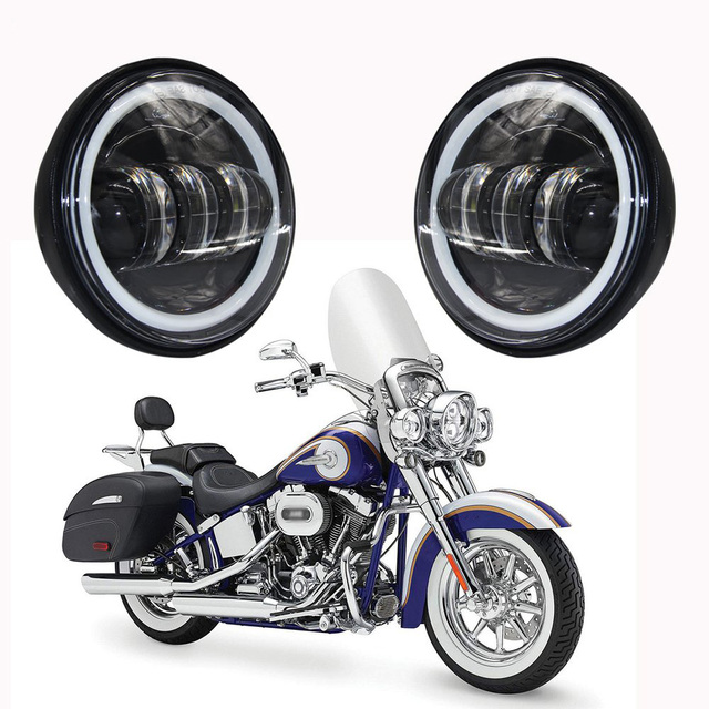 """4 1/2"""" 4.5 Inch for harley Motorcycle LED Fog Light Passing Auxiliary Lamps White Halo Ring For Harley Touring, Road king"""