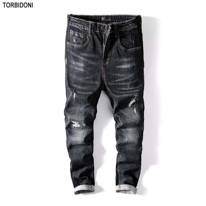 Jaqueta Jeans Men New Autumn Fashion Hole Jeans Skinny Long Trousers Little Elastic Ripped Distressed Jean Denim Pants Plus Size