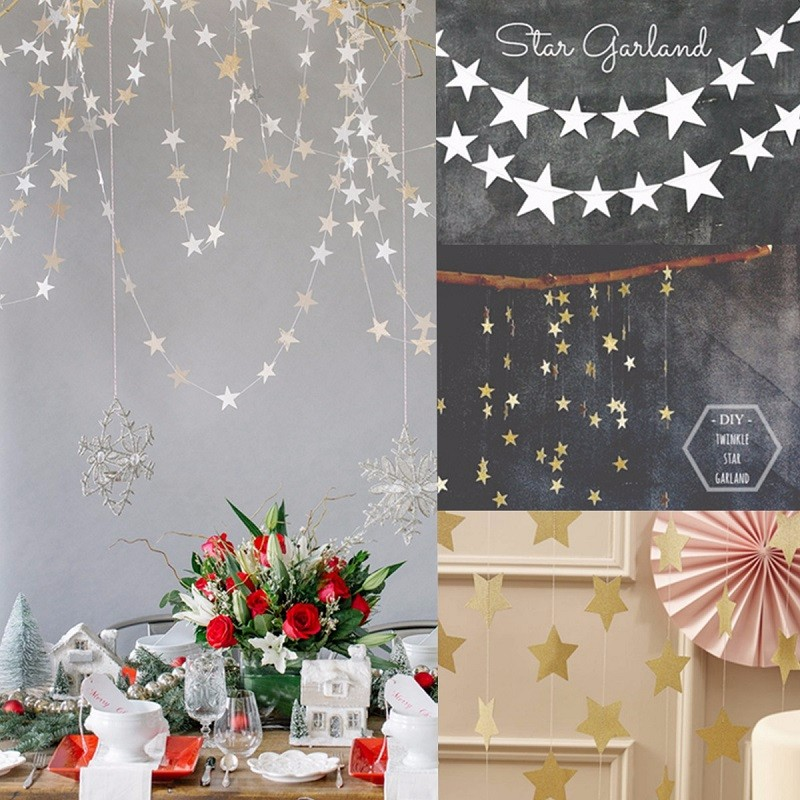 1pcs Star Shaped Paper Garlands 4m Colorful Bunting Home Wedding Party Banner Hanging Paper Garland Shower Room Door Decoration