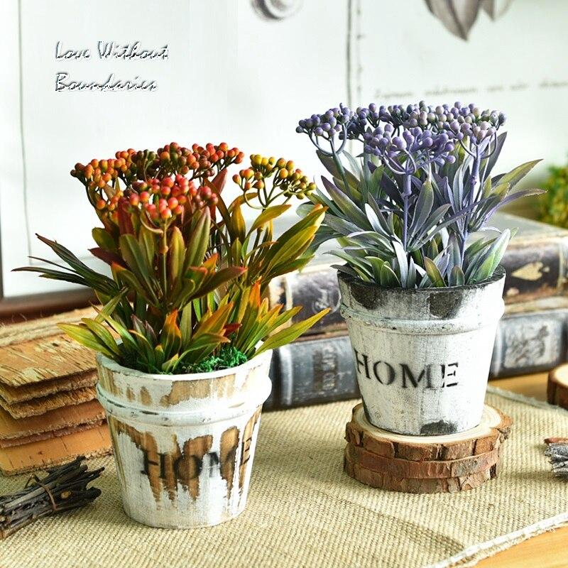 Americká vesnice, dřevo kilderkin, orchidej čaj ovoce, umělé květiny, hrnkové rostliny, bonsai, TV skříň, ozdoby  t