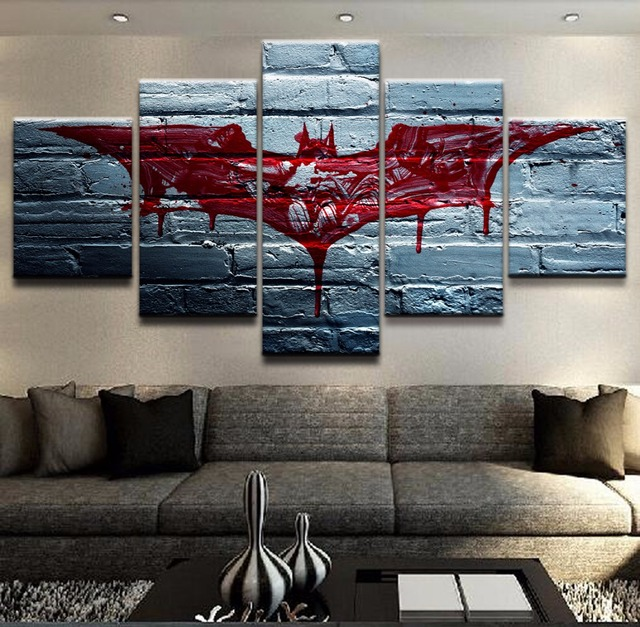 5 Pieces Canvas The Dark Knight Movie Poster Batman Symbol Home