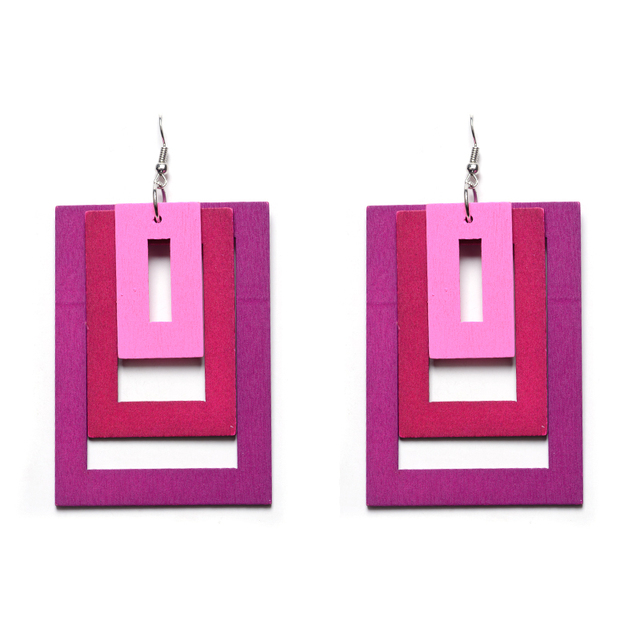 Pop Style Rectangle Colorful Wooden Earrings