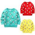 2017 Crianças Camisola Blusa para Meninas Com Forro de Lã Térmica Vestuário infantil Dos Desenhos Animados do Pinguim do Inverno Roupas Sudaderas Ninos