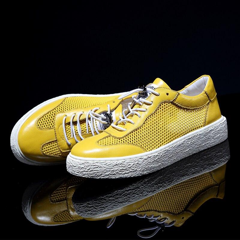 Bege Homens azul Coreana Céu amarelo Jogo Respirável Tendência Todos Do Couro Casuais De azul Versão Dos 2018 preto Da Sapatos marfim Os Verão Genuíno RTg1gI8