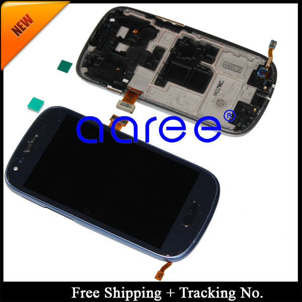100% tested  Super AMOLED For Samsung Galaxy S3 Mini LCD i8190 Display LCD Touch Screen  Assembly with Frame