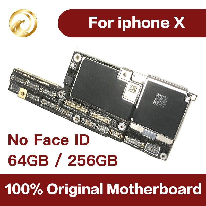 100% original placa-mãe para iphone x mainboard fábrica desbloqueio sem rosto id com chips completos sistema ios placa lógica bom trabalho