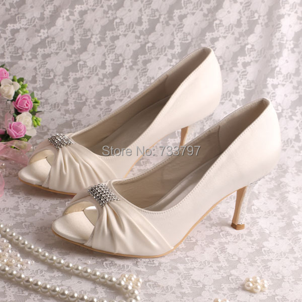 Beige Satin Open Toe Shoes Women Wedding Bridal Pumps 8CM Heel with Charm