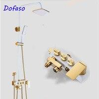 Dofaso antique European Deluxe Black Gold Block All Copper shower faucet Sprinkler Set Platinum bathroom rain Shower Set