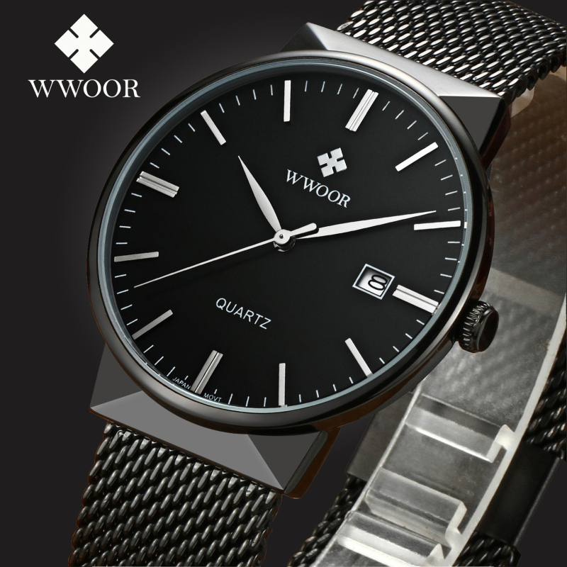 Top Brand WWOOR Men Stainess Steel Business Black Watches Mens Quartz Sports Wrist Watch Male Casual Clock Relogio MasculinoTop Brand WWOOR Men Stainess Steel Business Black Watches Mens Quartz Sports Wrist Watch Male Casual Clock Relogio Masculino