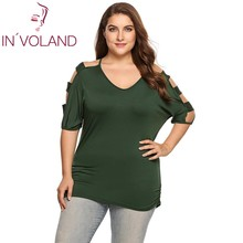 IN'VOLAND Women T-Shirt Tops Plus Size Casual V-Neck Half Ladder Sleeve Solid Pullover Spring Autumn Female Tshirt Tee Oversized