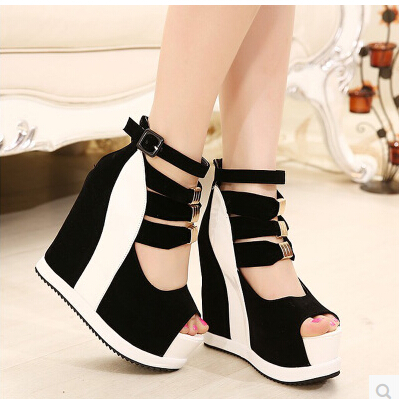 Women Platform Sandals 2015 Wedges 14cm Fish Mouth Color Matching Summer Sweet Woman Shoes High heel Sexy Ladies Shoes fish mouth gladiator sandals women platform wedges shoes 2017 summer beaches ladies shoes korean style creepers women s sandles