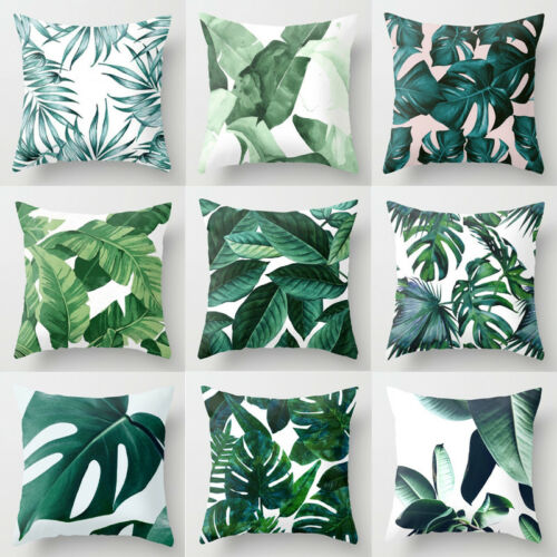 Polyester Pillow Case Cover Green Leaves Throw Pillow Cover Home
