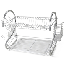 NHBR 2 TIER CHROME PLATE DISH CUTLERY CUP DRAINER RACK DRIP TRAY PLATES HOLDER UK