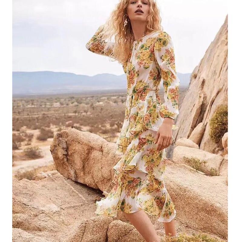 2018 nouveauté de haute qualité de luxe Designer jaune volants irrégulière Floral imprimé Midi Boutique robe Vocation robe de plage