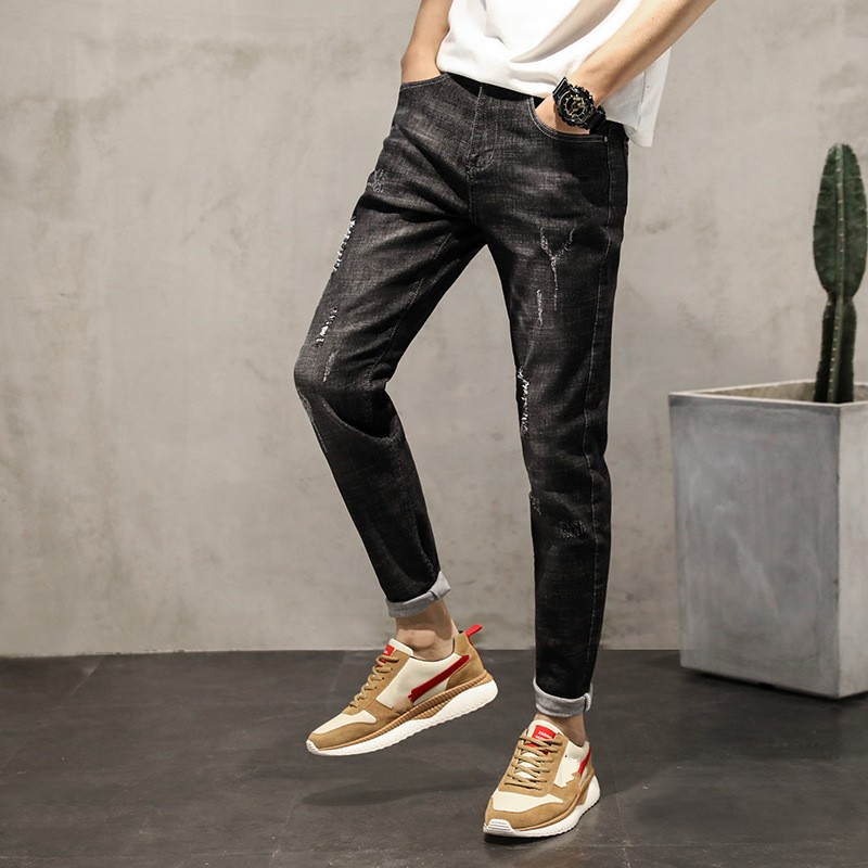 2018 New Mens Casual Jeans Fashion Students Boys Slim Fit Black Jeans Pants Scratched Vintage Streetwear Trousers For Male