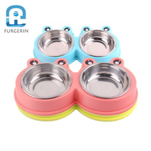 FURGERIN Double Pet Bowl Stainless Steel Cat Food Bowls pet products for dog bowl cat feeder Dog Stuff Safe Material