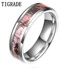 Summer Leaf Inlay Camouflage Rings Tungsten Jewelry Wholesale Men Women