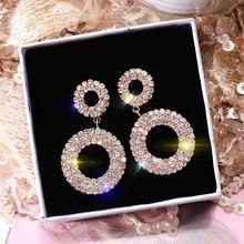 USTAR Crystals Double Round Dangle Earrings for women Geometric Statement Womens Drop rings wedding jewelry hanging Oorbellen