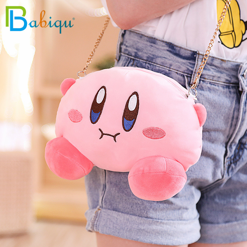 Kawaii Kirby Star Plush Messenger Bag Purse Kirby Plush Drawstring Pocket Plush Coin Bag Coin Purse Cartoon Plush Toys Gift