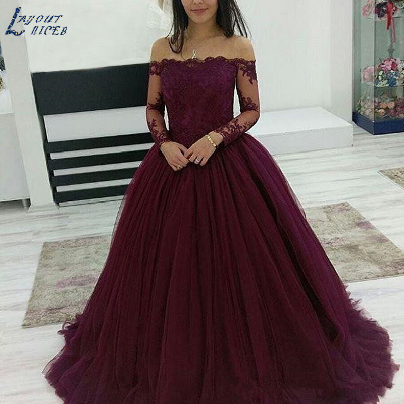 MAE011 Ball Gown Lace Evening Dresses Long Sleeves Sexy Bateau Neck Princess Turkey Style Lace Up