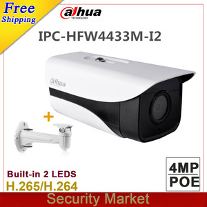 Image 1 - Orijinal DH Yıldız Kamera 4MP IPC HFW4433M I2 IR 80 m Bullet H265 CCTV POE IP kamera yerine IPC HFW4431M I2 braketi ile