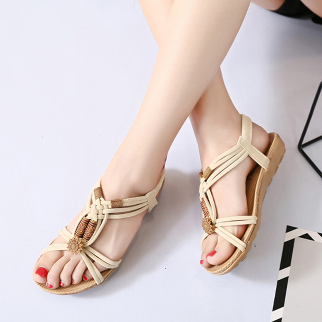 SHUJIN Ladies Summer Fashion Casual Bohemian  Beads Sandals   Ankle Slingback Flats  Flops Shoes Beach Thong Sandals