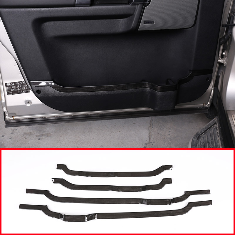 4pcs Black Wood Grain ABS Car Door Decorative Strips Trim Accessories For Land Rover Discovery 4 LR4 2010 2016