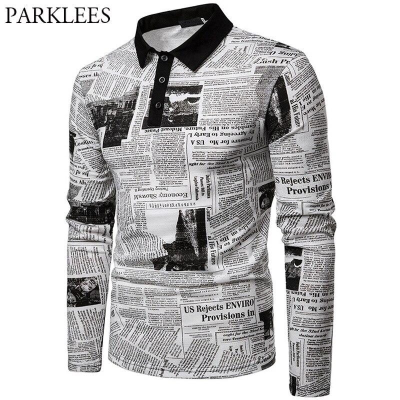 Newspaper Print Modal   Polo   Shirt Men 2019 Stylish Lapel Long Sleeve White Floral   Polos   Shirts Hipster Streetwear   Polo   Hombre XXL