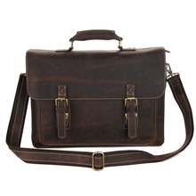 Vintage Brown Crazy Horse Leather Men Briefcase Genuine leather Men Messenger Bags Cowhide 14″ Laptop Portfolio #MD-J7205