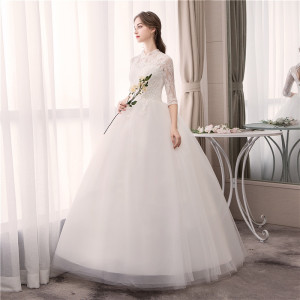 Image 4 - EZKUNTZA Lace High Neck 2019 New Wedding Dress Fashion Slim Embroidery Backless Plus Size Custom Made Bride Gown Robe De Mariee