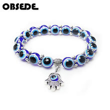 OBSEDE Fashion Silver Color Blue Evil Eye Hamsa Hand Fatima Palm Bracelets for Women Beads Chain Vintage Jewelry Female Gifts(China)