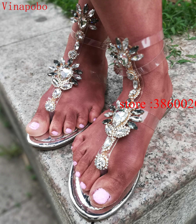 Vinapobo 2019 Frau Sandalen Frauen casual Schuhe Strass Kristall ChainsThong Gladiator Flache Sandalen Chaussure Plus Größe 35-43