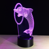 Cute dolphin 3D Table Lamp LED Colorful Dog Nightlight Kids Birthday Gift USB Sleep Lighting Home Decoration with 7 Colors