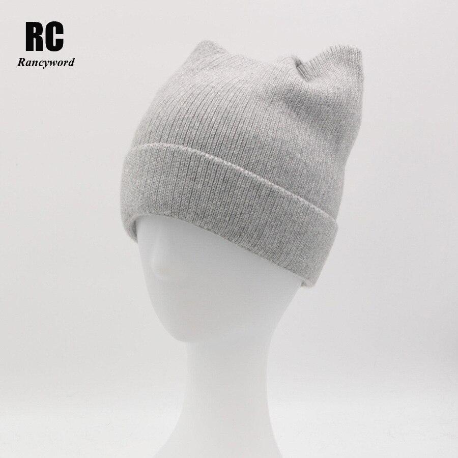 [Rancyword] Women's Winter Hat Wool Beanie Skullies Lovely Cat Ear Hat Cap Female Knitted Wool Warm Hats For Women Pompon RC1244 skullies