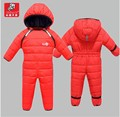 Kids Rompers Newborn Baby Girl Duck Down Winter Snowsuit Baby Cute Hooded Jumpsuit Baby Boy Clothes Ski Suit Red Blue Jacket