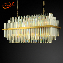 Modern Rectangular Crystal Chandelier Hanging Lighting LED Glass Chandeliers Lamp Living Dining Room Light Fixture modern led lustre chandelier hanglamp remote control chandeliers hanging lighting dining room restaurant office light fixture